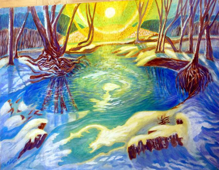 Winter am Goldbach, 60x80