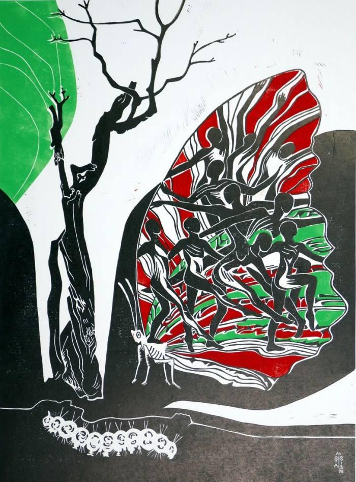 Gleichnis von Raupe u. Schmetterling, 61x45
