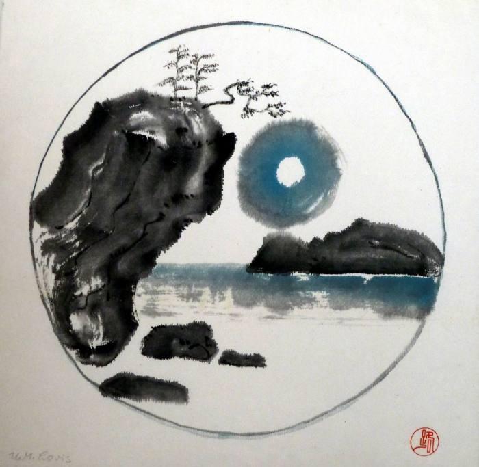 Mond über dem Meer, 33x33