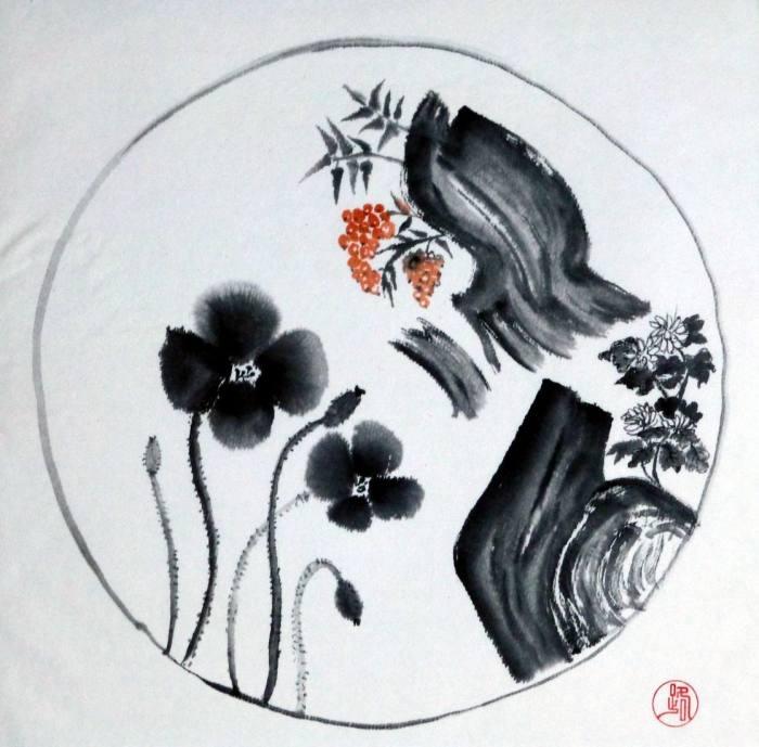 Zwei Mohnblumen, 34x34